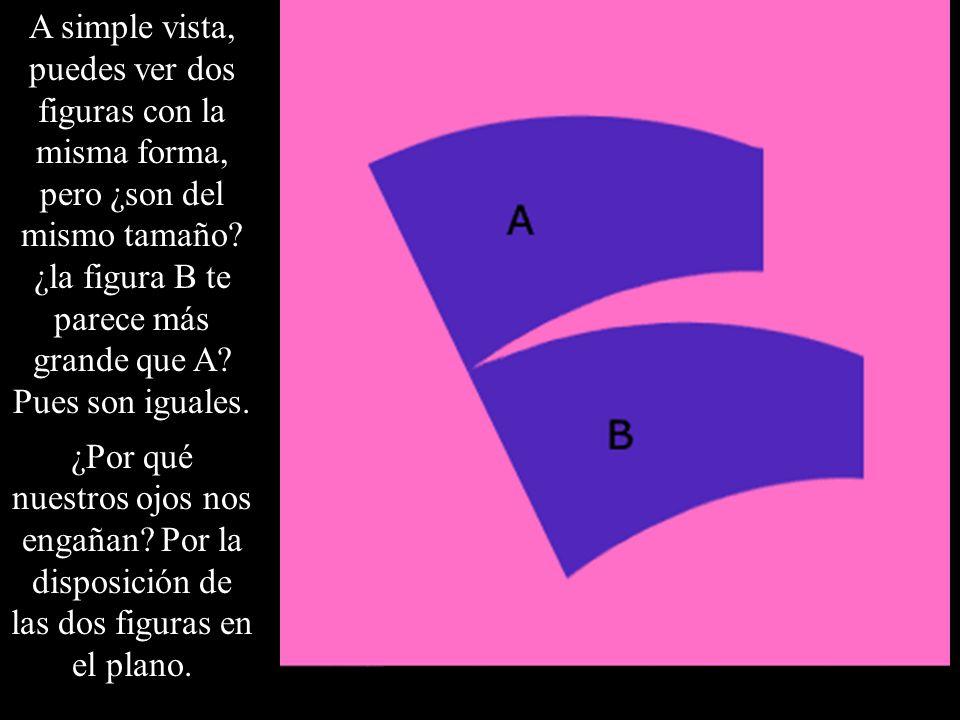 A simple vista, puedes ver dos figuras con la misma forma, pero ¿son del mismo tamaño? ¿la figura B te parece más grande que A? Pues son iguales. ¿Por