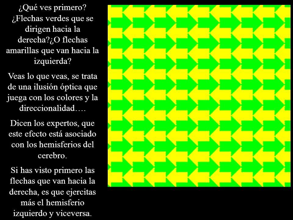¿Qué ves primero? ¿Flechas verdes que se dirigen hacia la derecha?¿O flechas amarillas que van hacia la izquierda? Veas lo que veas, se trata de una i