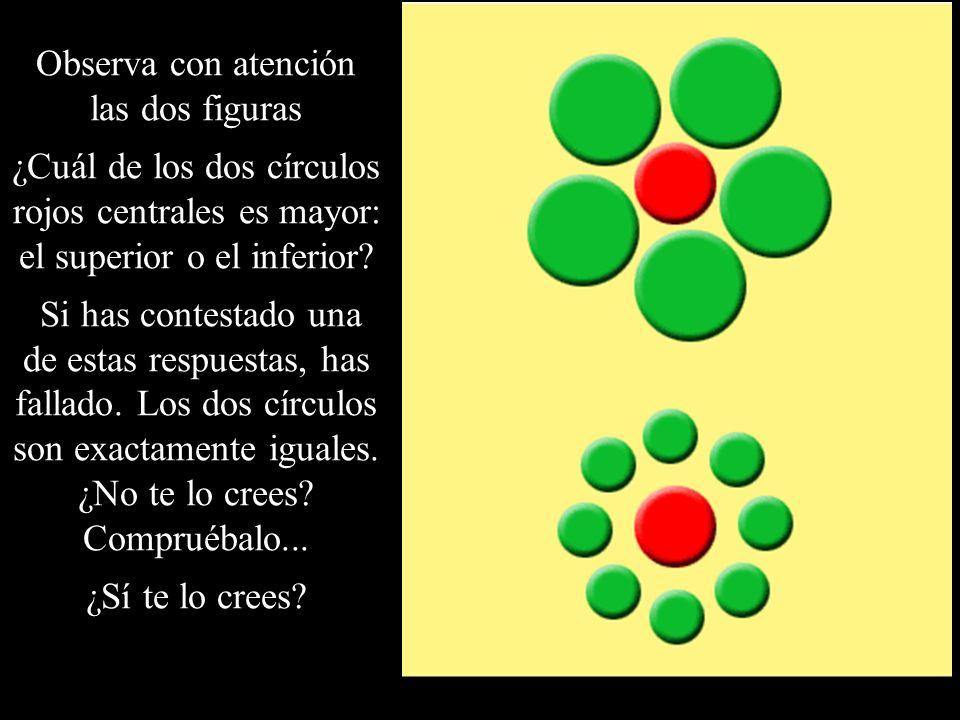 Observa con atención las dos figuras ¿Cuál de los dos círculos rojos centrales es mayor: el superior o el inferior? Si has contestado una de estas res