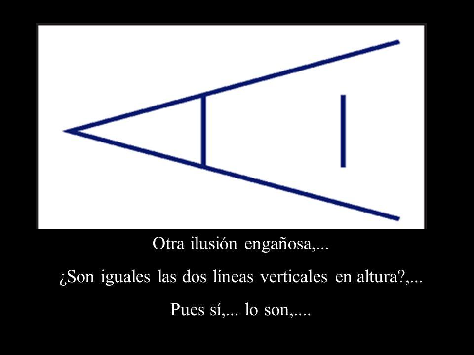 Otra ilusión engañosa,... ¿Son iguales las dos líneas verticales en altura?,... Pues sí,... lo son,....
