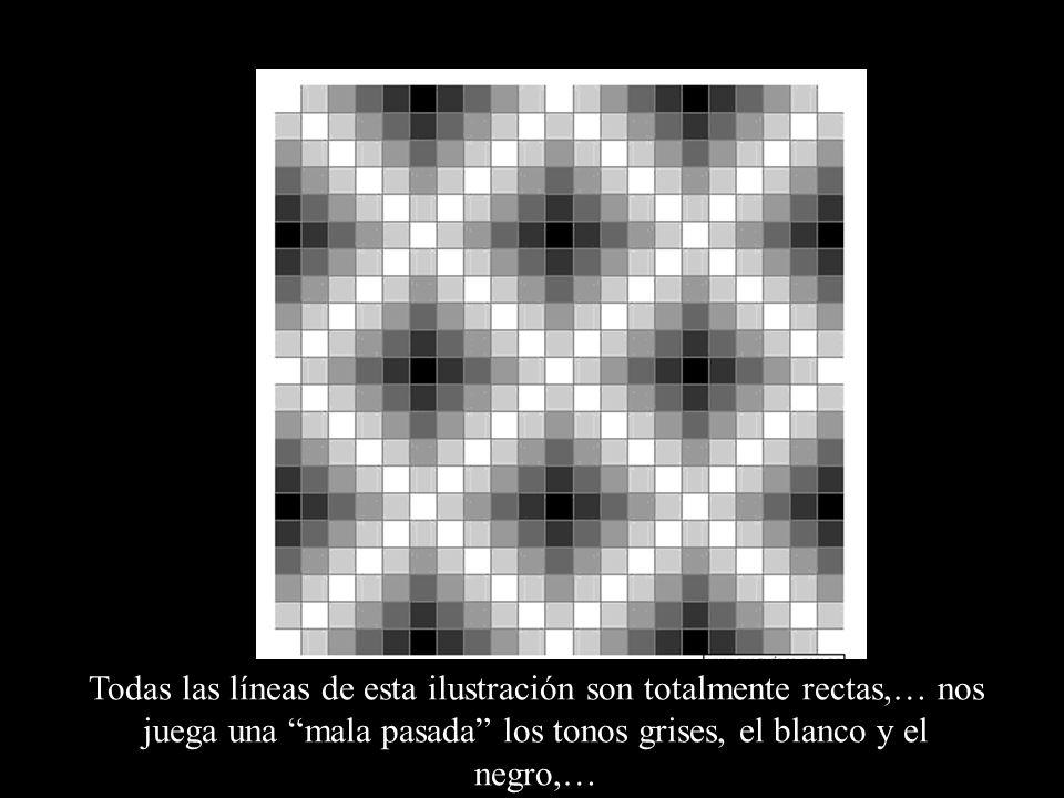 Todas las líneas de esta ilustración son totalmente rectas,… nos juega una mala pasada los tonos grises, el blanco y el negro,…