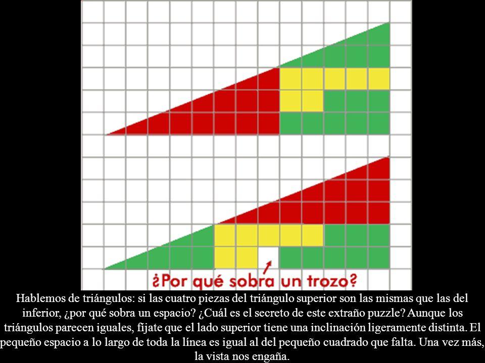Hablemos de triángulos: si las cuatro piezas del triángulo superior son las mismas que las del inferior, ¿por qué sobra un espacio? ¿Cuál es el secret