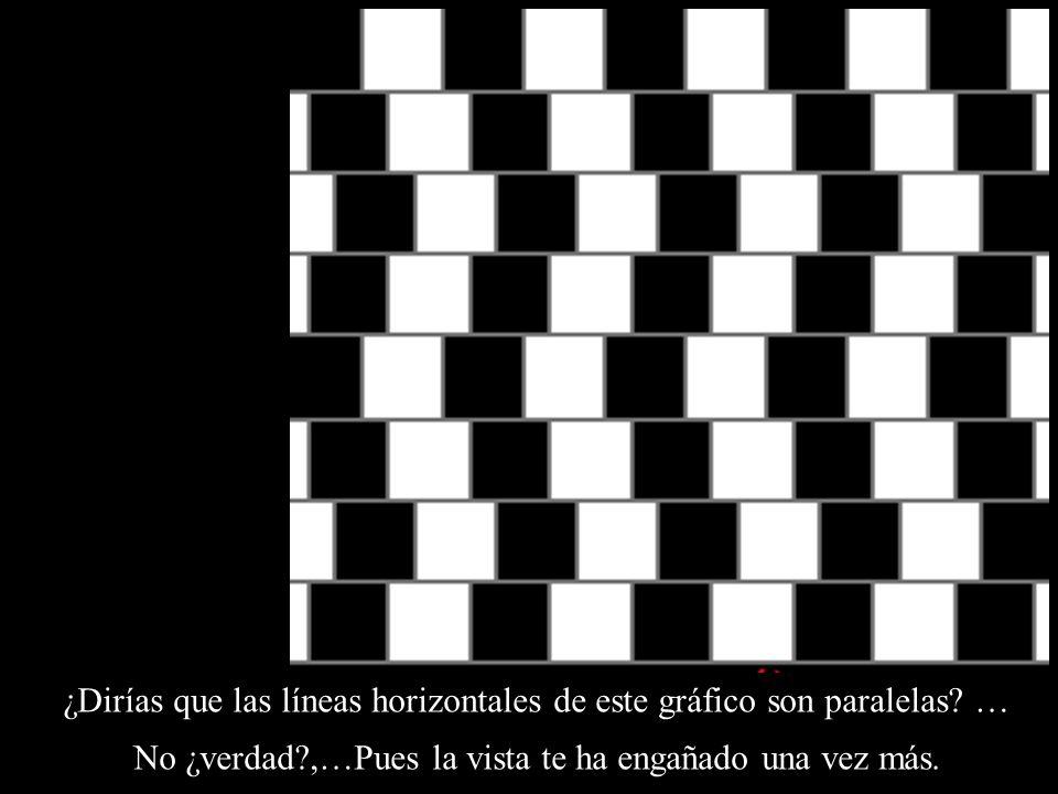 ¿Dirías que las líneas horizontales de este gráfico son paralelas? … No ¿verdad?,…Pues la vista te ha engañado una vez más.
