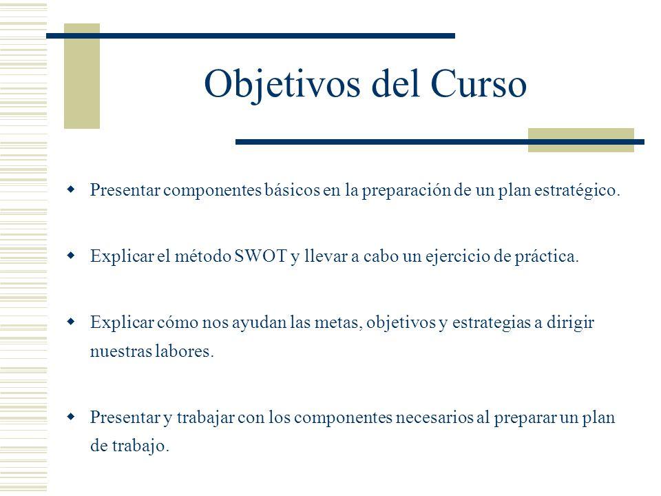 Objetivos del Curso Presentar componentes básicos en la preparación de un plan estratégico. Explicar el método SWOT y llevar a cabo un ejercicio de pr