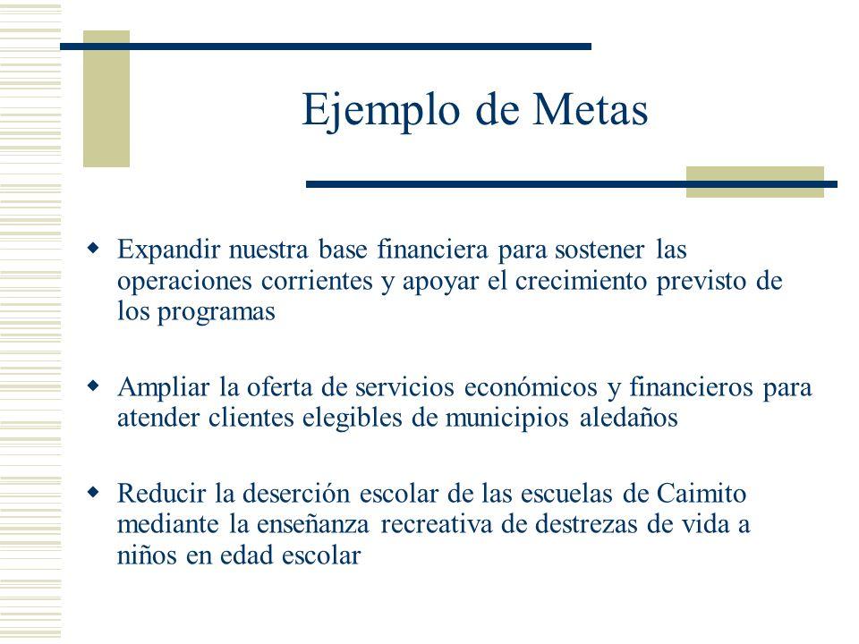 Ejemplo de Metas Expandir nuestra base financiera para sostener las operaciones corrientes y apoyar el crecimiento previsto de los programas Ampliar l