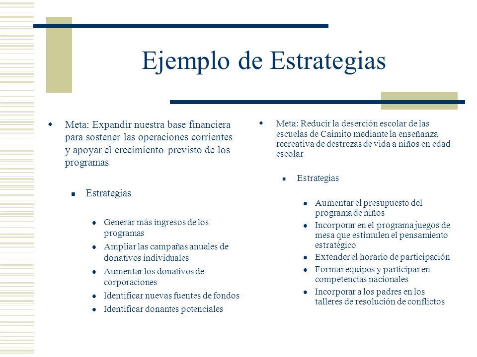 Ejemplo de Estrategias Meta: Expandir nuestra base financiera para sostener las operaciones corrientes y apoyar el crecimiento previsto de los program