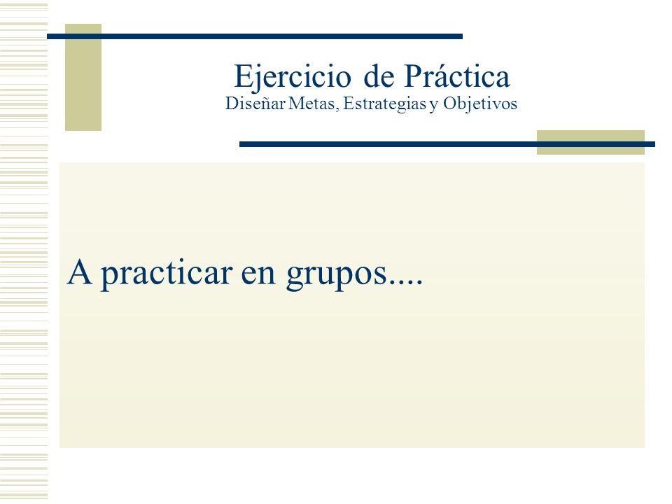 Ejercicio de Práctica Diseñar Metas, Estrategias y Objetivos A practicar en grupos....