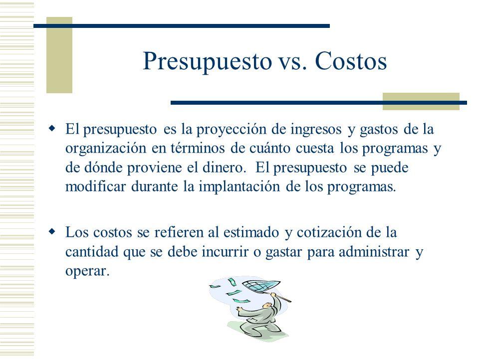Presupuesto vs. Costos El presupuesto es la proyección de ingresos y gastos de la organización en términos de cuánto cuesta los programas y de dónde p