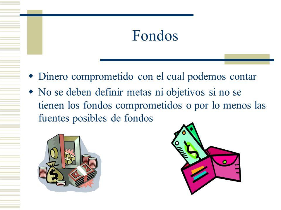 Fondos Dinero comprometido con el cual podemos contar No se deben definir metas ni objetivos si no se tienen los fondos comprometidos o por lo menos l