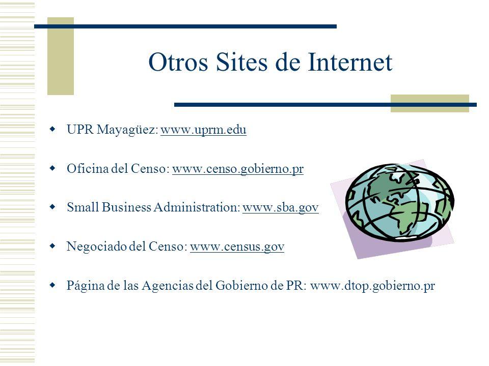 Otros Sites de Internet UPR Mayagüez: www.uprm.eduwww.uprm.edu Oficina del Censo: www.censo.gobierno.prwww.censo.gobierno.pr Small Business Administra