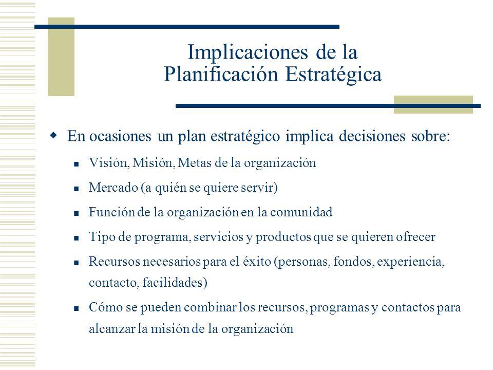 Implicaciones de la Planificación Estratégica En ocasiones un plan estratégico implica decisiones sobre: Visión, Misión, Metas de la organización Merc