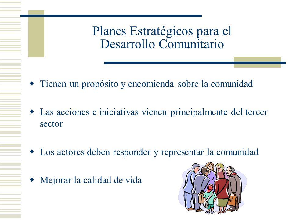 Planes Estratégicos para el Desarrollo Comunitario Tienen un propósito y encomienda sobre la comunidad Las acciones e iniciativas vienen principalment