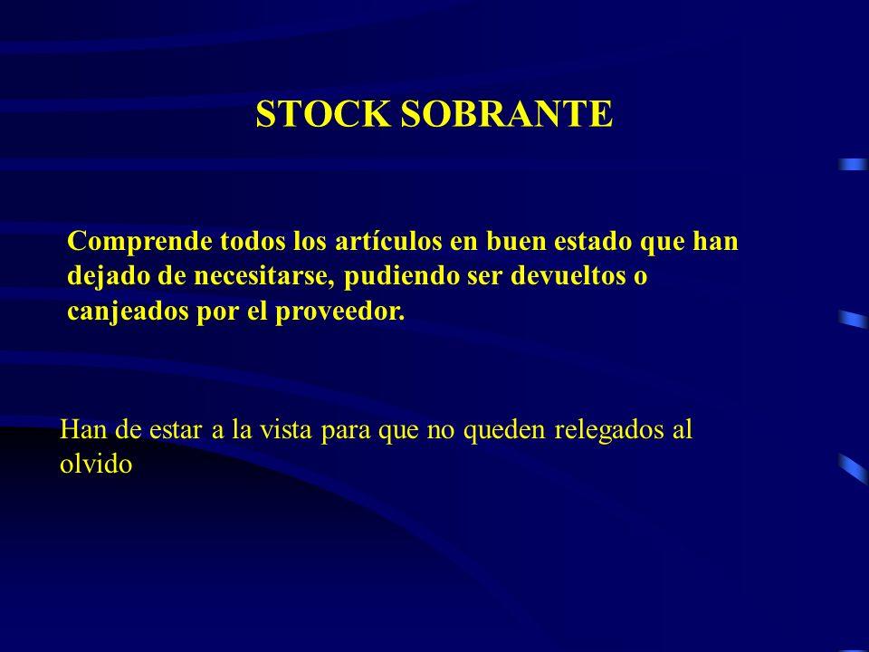STOCK SOBRANTE Comprende todos los artículos en buen estado que han dejado de necesitarse, pudiendo ser devueltos o canjeados por el proveedor. Han de