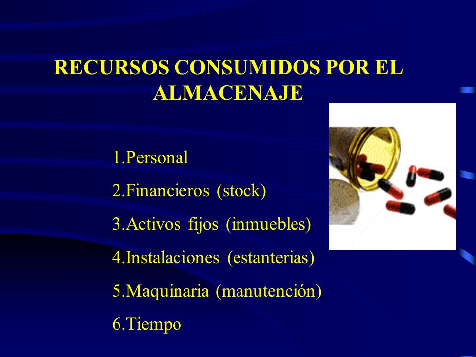 RECURSOS CONSUMIDOS POR EL ALMACENAJE 1.Personal 2.Financieros (stock) 3.Activos fijos (inmuebles) 4.Instalaciones (estanterias) 5.Maquinaria (manuten