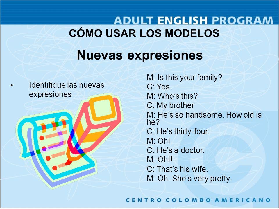Nuevas expresiones Identifique las nuevas expresiones M: Is this your family.