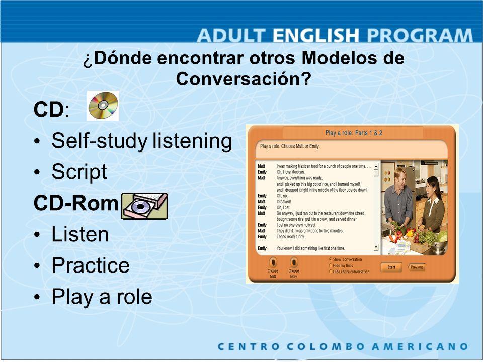 CD: Self-study listening Script CD-Rom: Listen Practice Play a role ¿Dónde encontrar otros Modelos de Conversación