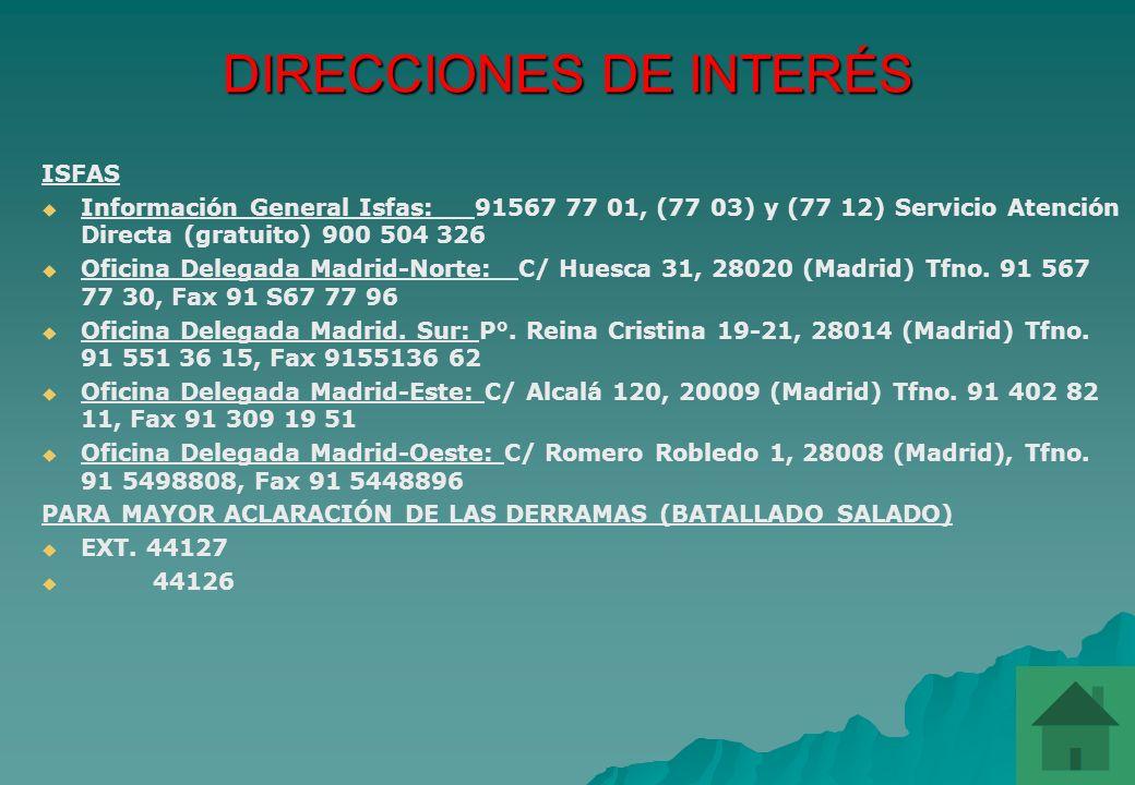 DIRECCIONES DE INTERÉS SUBDIRECCIÓN GENERAL DE PERSONAL MILITAR (ÁREA DE PENSIONES) C/ Juan Ignacio Luca de Tena 30, la planta, 28007 (Madrid) Tfno. 9