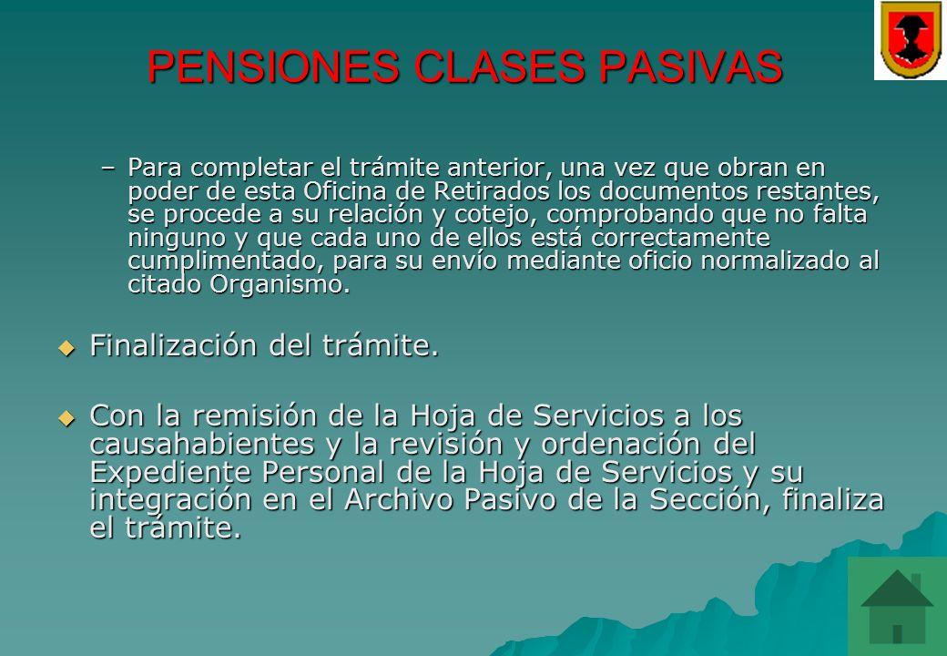 PENSIONES CLASES PASIVAS PENSIONES CLASES PASIVAS Lo tramita el Servicio de Recursos Humanos (Sección 4ª) Lo tramita el Servicio de Recursos Humanos (