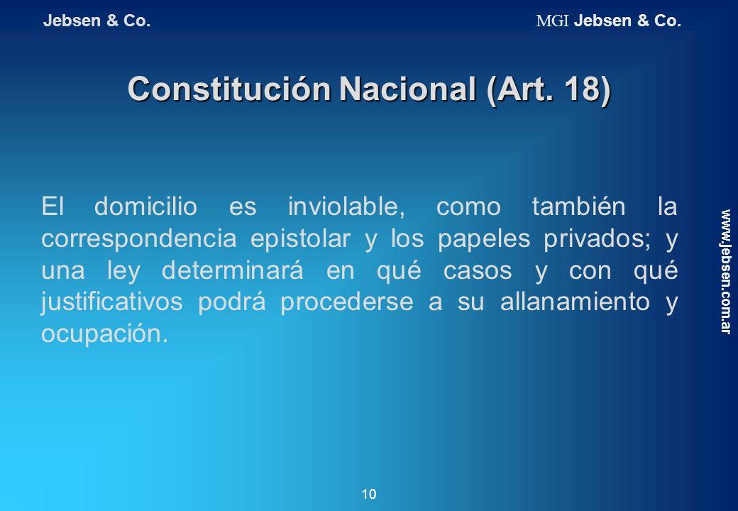 Constitución Nacional (Art. 18) El domicilio es inviolable, como también la correspondencia epistolar y los papeles privados; y una ley determinará en