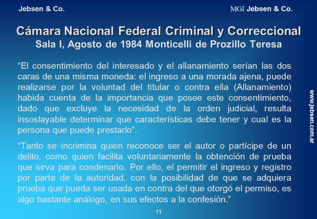 Cámara Nacional Federal Criminal y Correccional Cámara Nacional Federal Criminal y Correccional Sala I, Agosto de 1984 Monticelli de Prozillo Teresa E