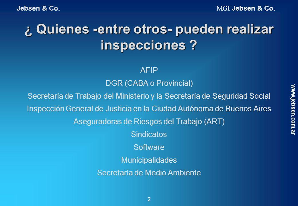 ¿ Quienes -entre otros- pueden realizar inspecciones ? AFIP DGR (CABA o Provincial) Secretaría de Trabajo del Ministerio y la Secretaría de Seguridad