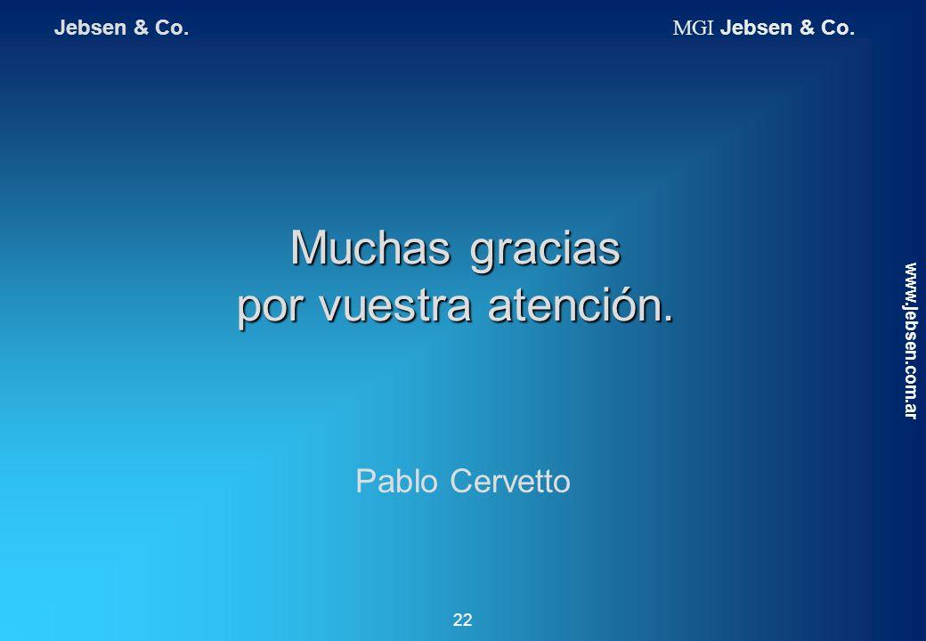 Muchas gracias por vuestra atención. www.jebsen.com.ar 22 Pablo Cervetto Jebsen & Co. MGI Jebsen & Co.
