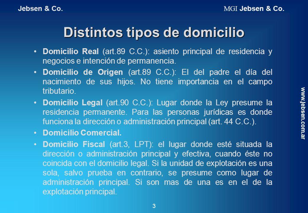 Distintos tipos de domicilio Domicilio Real (art.89 C.C.): asiento principal de residencia y negocios e intención de permanencia. Domicilio de Origen