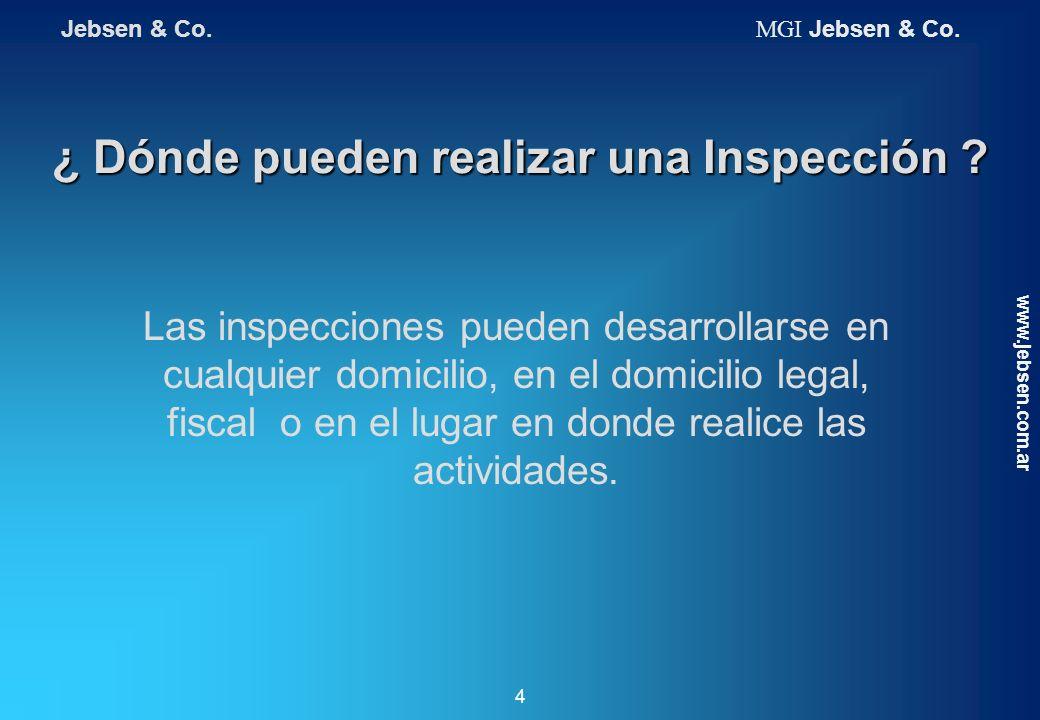 ¿ Dónde pueden realizar una Inspección ? Las inspecciones pueden desarrollarse en cualquier domicilio, en el domicilio legal, fiscal o en el lugar en