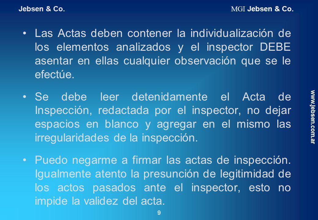 Las Actas deben contener la individualización de los elementos analizados y el inspector DEBE asentar en ellas cualquier observación que se le efectúe