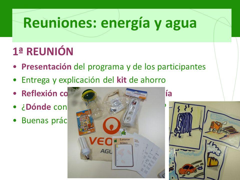 Reuniones: energía y agua 1ª REUNIÓN Presentación del programa y de los participantes Entrega y explicación del kit de ahorro Reflexión colectiva acerca de la energía ¿Dónde consumimos energía en casa.