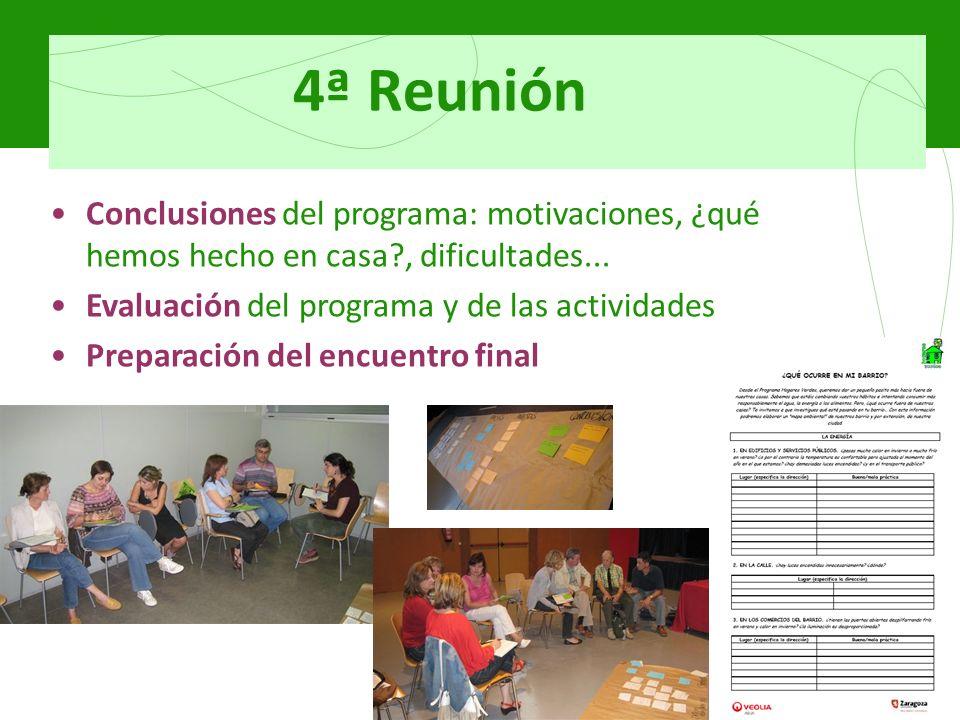 4ª Reunión Conclusiones del programa: motivaciones, ¿qué hemos hecho en casa , dificultades...