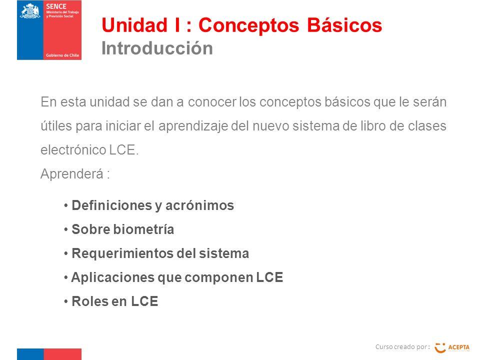 Curso creado por : Unidad I : Conceptos Básicos Definiciones y acrónimos.