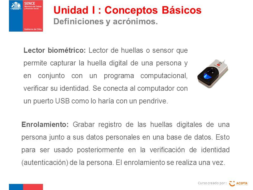 Curso creado por : Unidad I : Conceptos Básicos Biometría: ¿Cómo se utiliza.