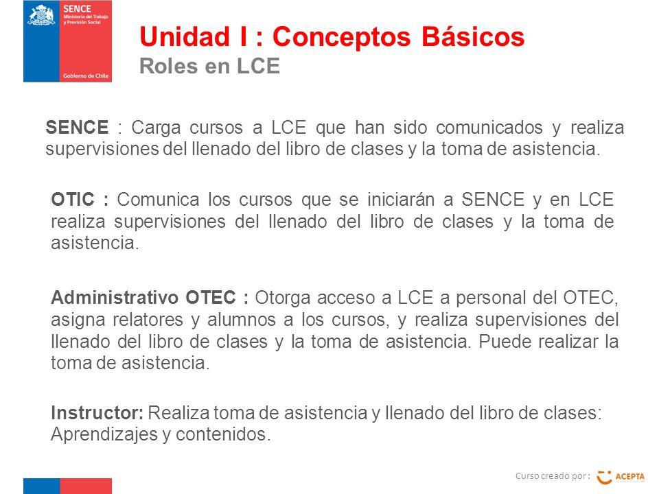 SENCE : Carga cursos a LCE que han sido comunicados y realiza supervisiones del llenado del libro de clases y la toma de asistencia.