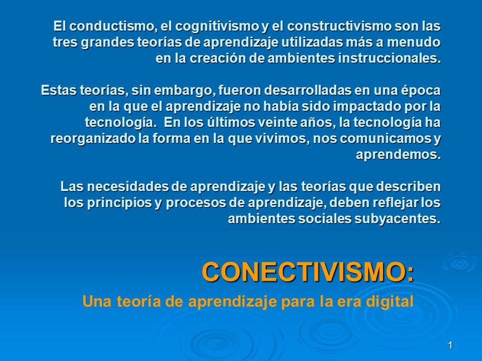 1 El conductismo, el cognitivismo y el constructivismo son las tres grandes teorías de aprendizaje utilizadas más a menudo en la creación de ambientes