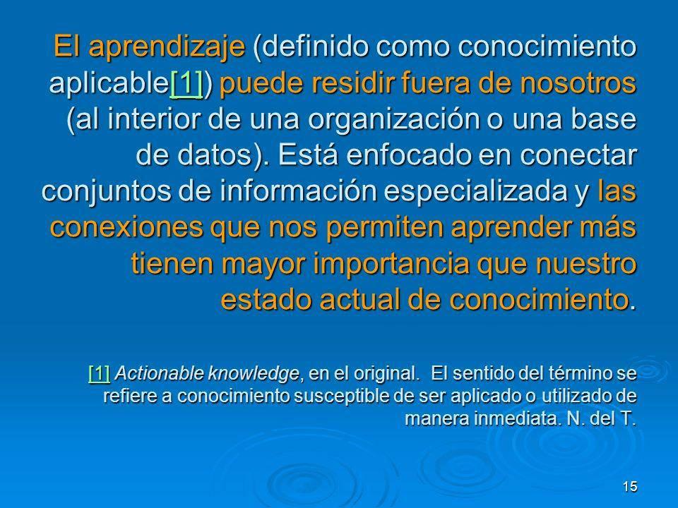 15 El aprendizaje (definido como conocimiento aplicable[1]) puede residir fuera de nosotros (al interior de una organización o una base de datos). Est