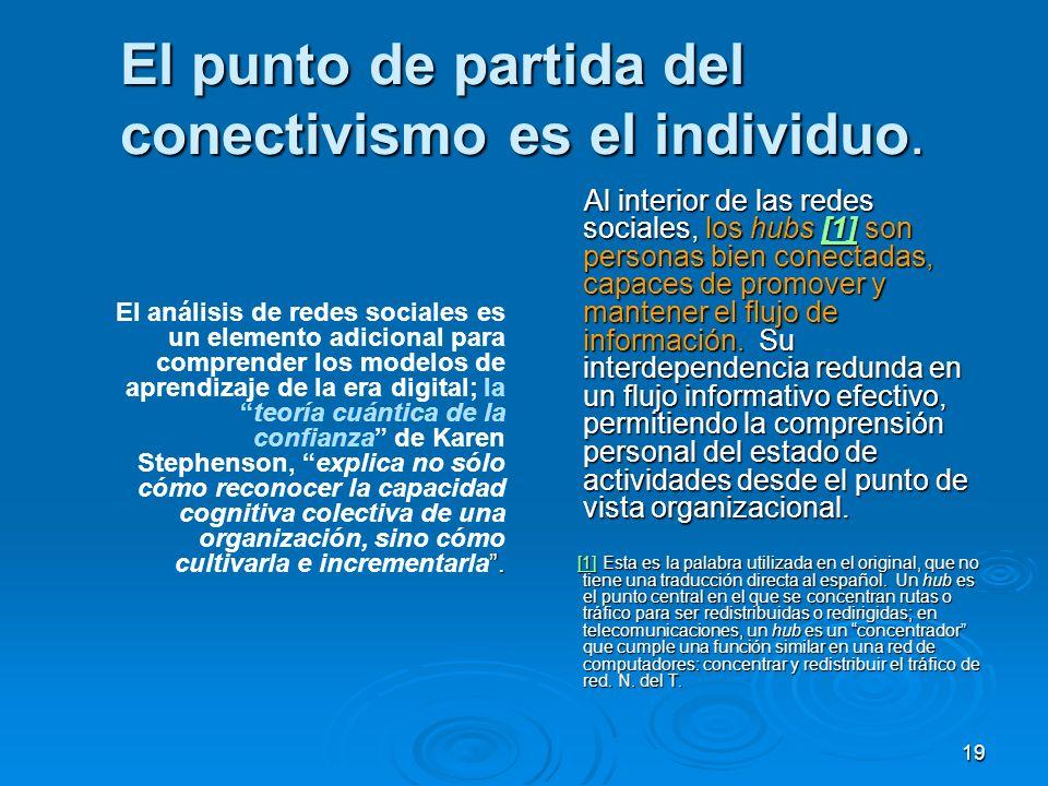 19 El punto de partida del conectivismo es el individuo.. El análisis de redes sociales es un elemento adicional para comprender los modelos de aprend