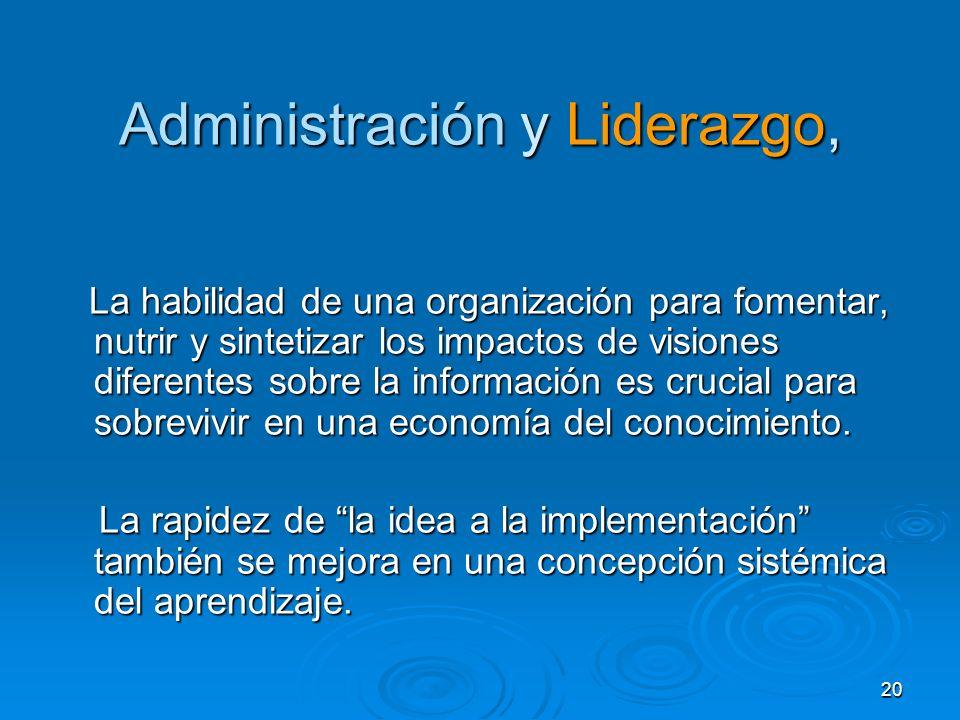 20 Administración y Liderazgo, La habilidad de una organización para fomentar, nutrir y sintetizar los impactos de visiones diferentes sobre la inform