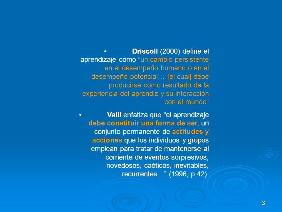 3 Driscoll (2000) define el aprendizaje como un cambio persistente en el desempeño humano o en el desempeño potencial… [el cual] debe producirse como