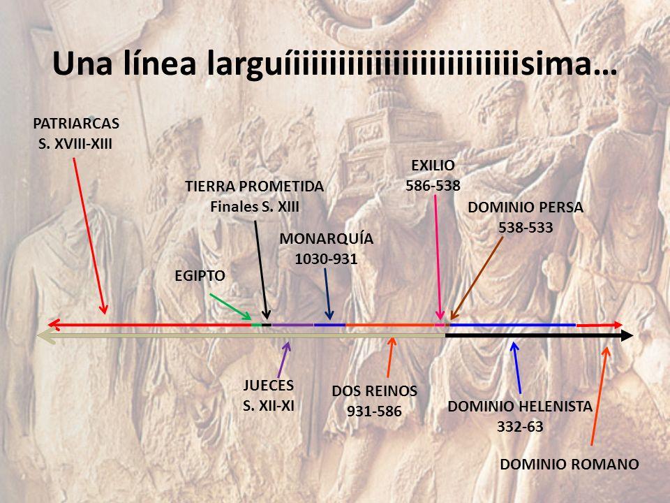 Una línea larguíiiiiiiiiiiiiiiiiiiiiiiiiisima… PATRIARCAS S. XVIII-XIII EGIPTO TIERRA PROMETIDA Finales S. XIII JUECES S. XII-XI MONARQUÍA 1030-931 DO