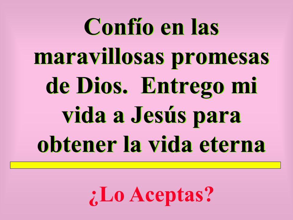 Confío en las maravillosas promesas de Dios. Entrego mi vida a Jesús para obtener la vida eterna ¿Lo Aceptas?