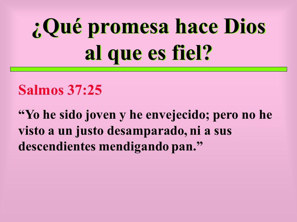 ¿Qué promesa hace Dios al que es fiel? Salmos 37:25 Yo he sido joven y he envejecido; pero no he visto a un justo desamparado, ni a sus descendientes