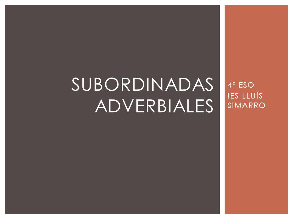 4º ESO IES LLUÍS SIMARRO SUBORDINADAS ADVERBIALES
