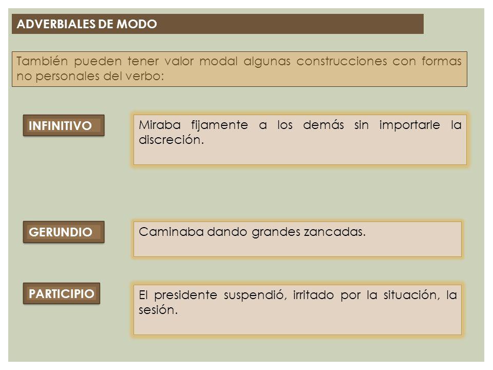 ADVERBIALES DE MODO También pueden tener valor modal algunas construcciones con formas no personales del verbo: INFINITIVO Miraba fijamente a los demá