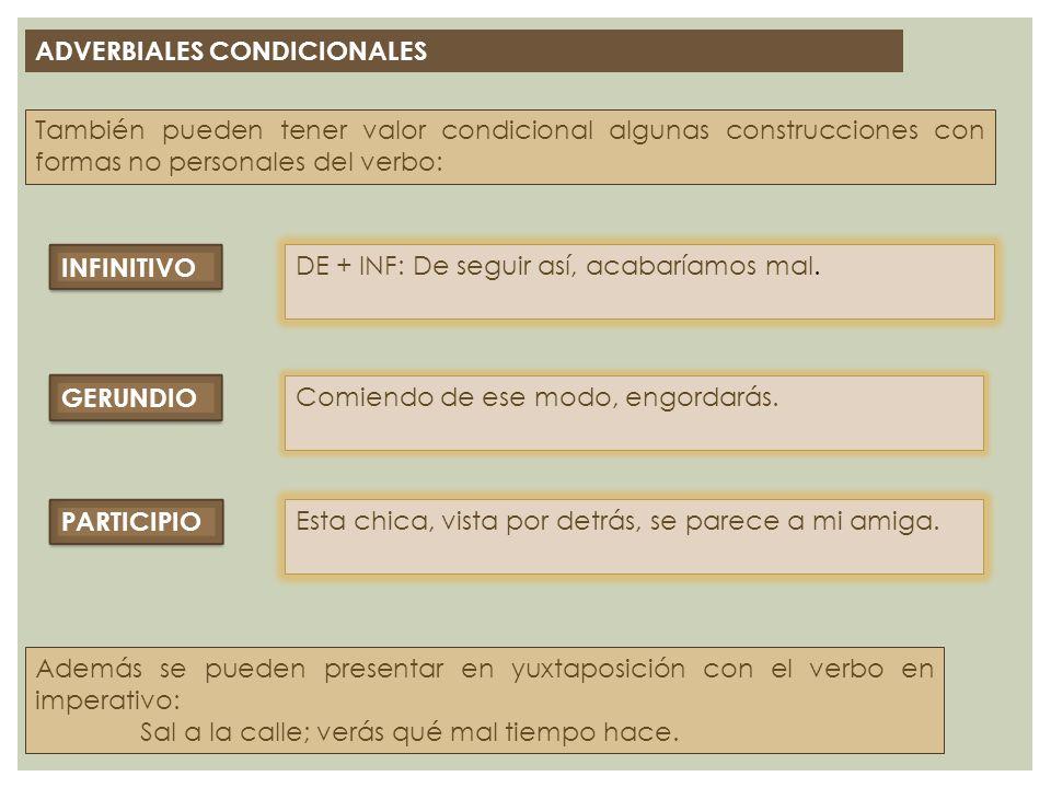 ADVERBIALES CONDICIONALES También pueden tener valor condicional algunas construcciones con formas no personales del verbo: INFINITIVO DE + INF: De se