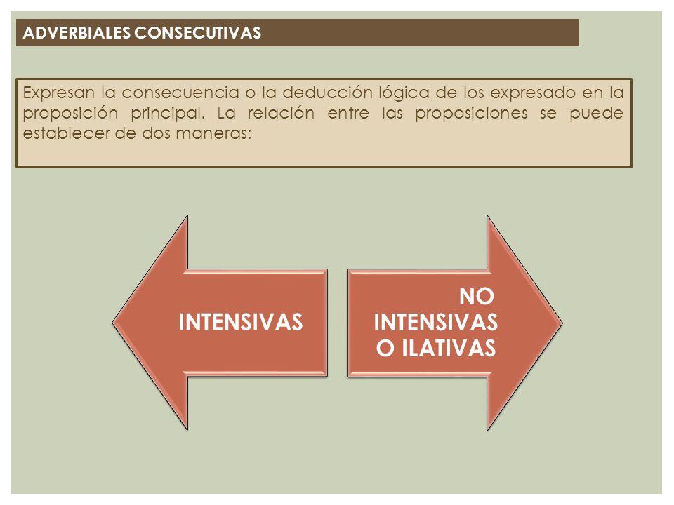 ADVERBIALES CONSECUTIVAS Expresan la consecuencia o la deducción lógica de los expresado en la proposición principal. La relación entre las proposicio