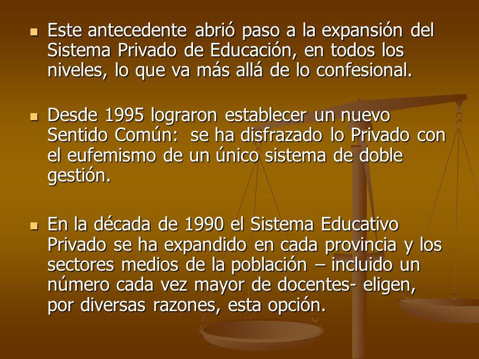 Este antecedente abrió paso a la expansión del Sistema Privado de Educación, en todos los niveles, lo que va más allá de lo confesional. Este antecede