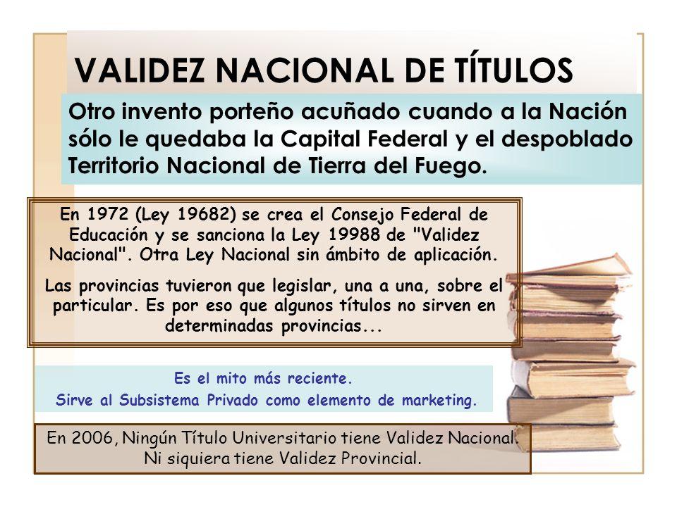 VALIDEZ NACIONAL DE TÍTULOS Otro invento porteño acuñado cuando a la Nación sólo le quedaba la Capital Federal y el despoblado Territorio Nacional de