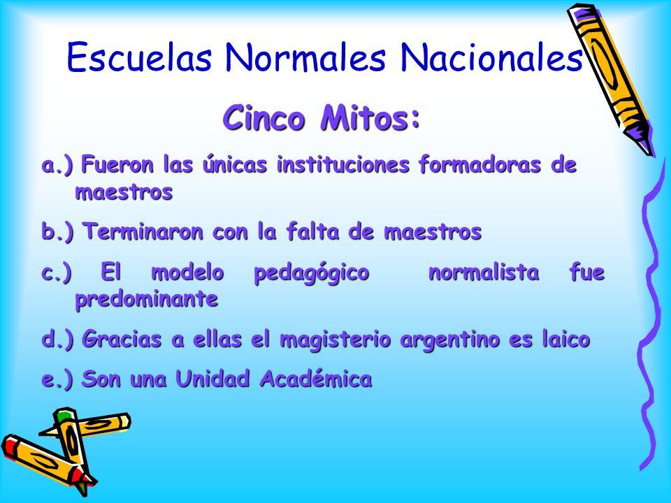 Escuelas Normales Nacionales Cinco Mitos: a.) Fueron las únicas instituciones formadoras de maestros b.) Terminaron con la falta de maestros c.) El mo