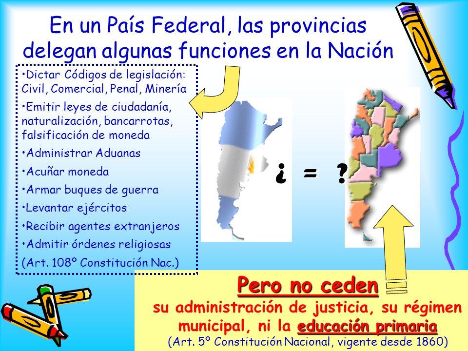 En un País Federal, las provincias delegan algunas funciones en la Nación Pero no ceden su administración de justicia, su régimen municipal, ni la e e
